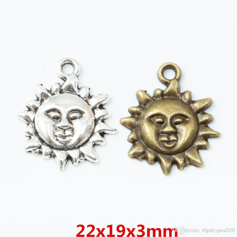 56pcs الجملة معدن خمر قلادة سحر سبائك الزنك الشمس لنتائج مجوهرات ديي 6786