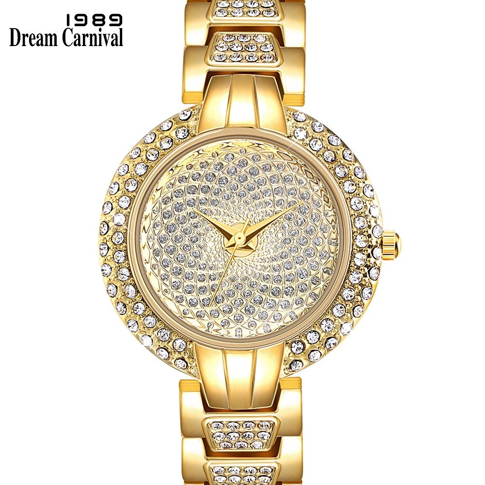 Dreamcarnival 1989 Luxury Ladies Quartz Watch Full Crystal Stones Women Clock Rhodium Gold Color Round Case Drop Shipping A8328