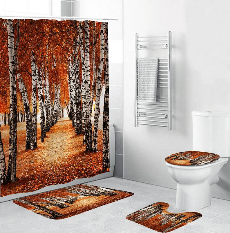 Autumn Fallen Leaves Forest Durable Fabric Shower Curtains Bathroom Curtain Anti-skid Rugs Toilet Lid Cover Bath Mat Home Decor