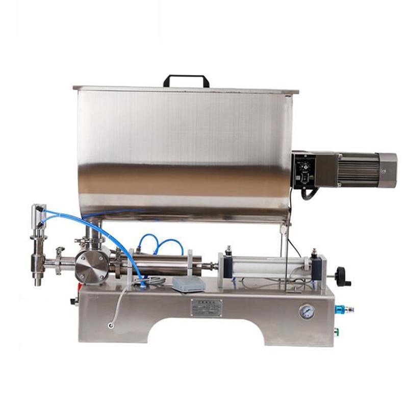 Horizontal machine de remplissage liquide Pâte machine de remplissage commercial de type agitation pneumatique pour la crème au beurre d'arachide de pâte de piment