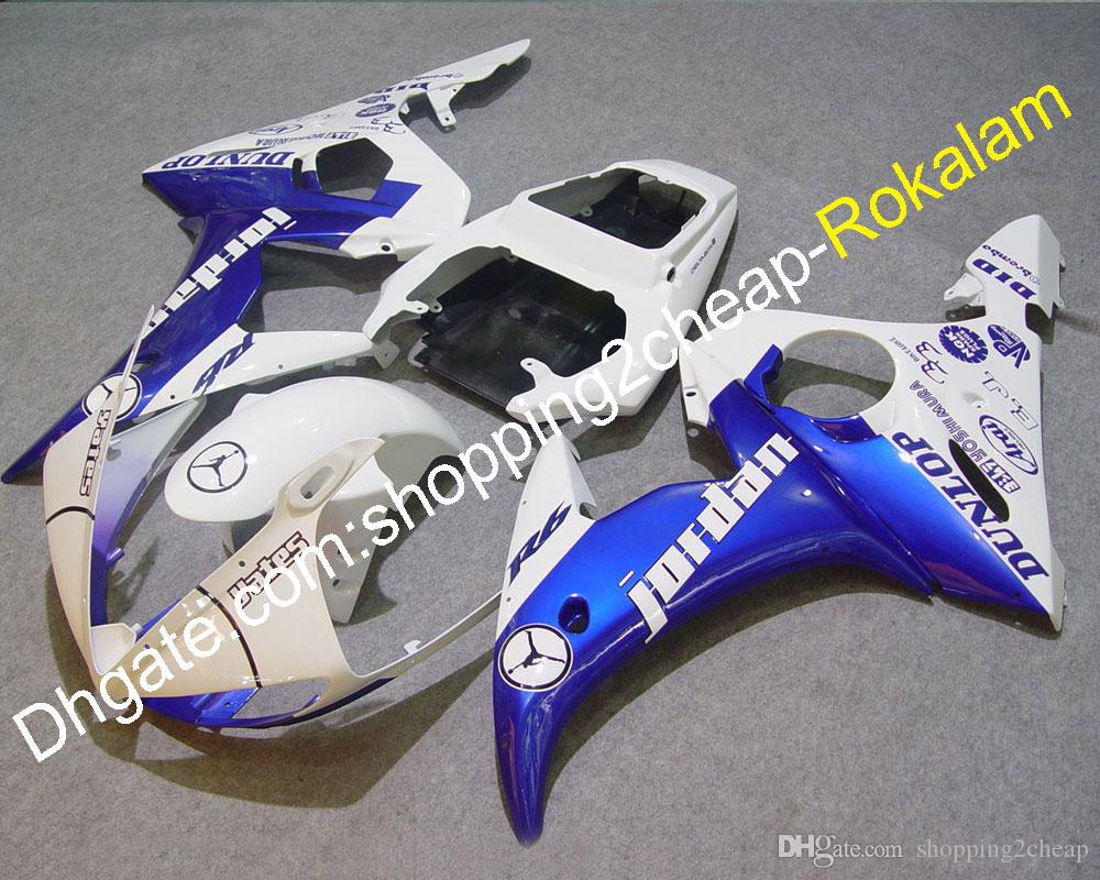 05 YZF600 Motorcycle Fairings For Yamaha YZF 600 R6 2005 YZF-R6 Sportbike ABS Body Fairing Blue White (Injection molding)