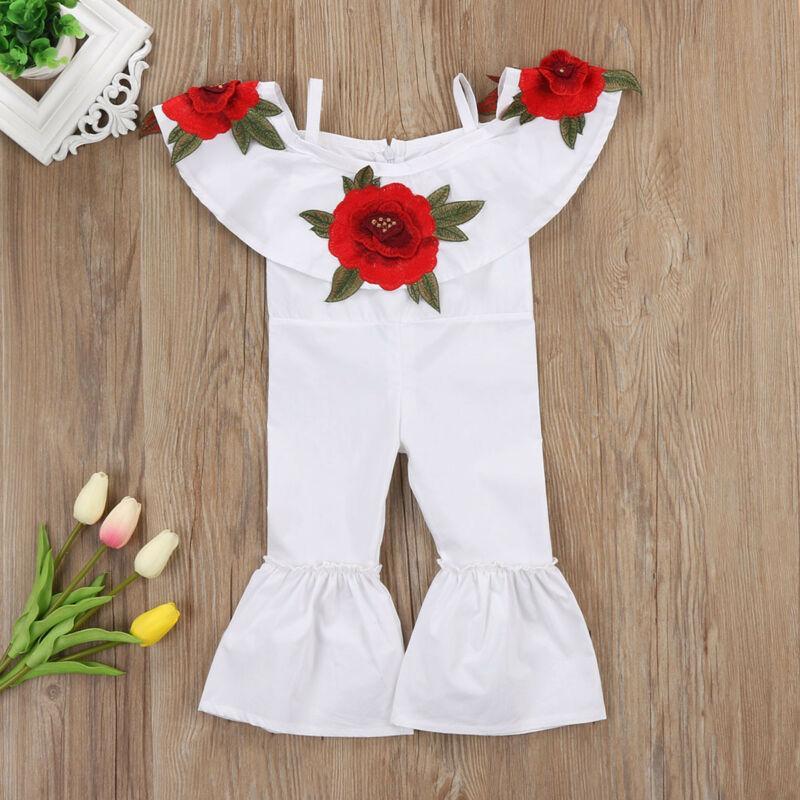 Fashion Rose-Stickerei-Body Kind-Baby weg von der Schulter-Blumen-Strampler Jumpsuits Hosen Outfits Kleidung