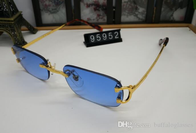 Lujo Unisex Mujer Cuerno Cuerno Retro Ocultos Deportes Rectángulo Redless Sunglasses Solar Marcos de plata Metal Gold Buffalo Men TNWFA