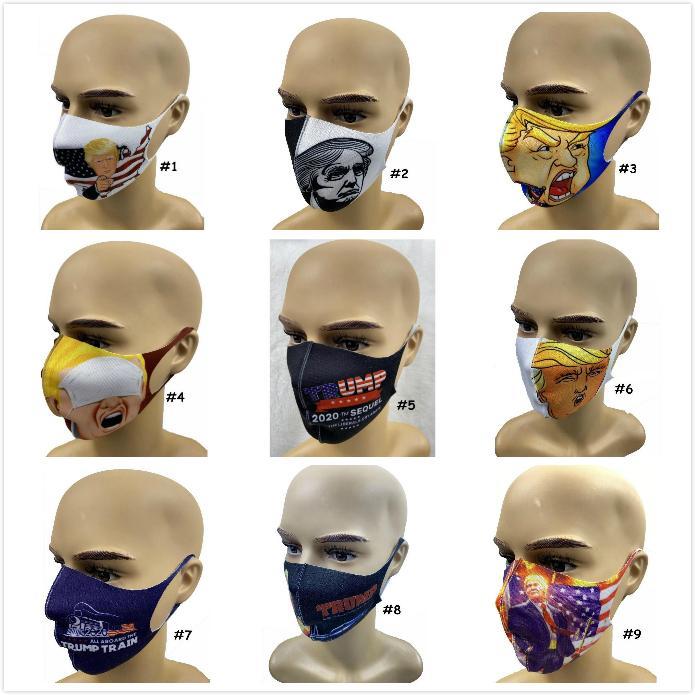 Máscaras Máscaras Máscaras Trump cara anti-poeira adulto Trump eleição americana reutilizável lavável 3D Imprimir Boca Muffle 9 Styles