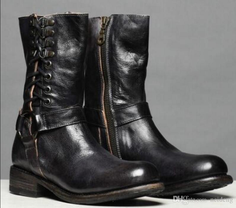 حار بيع Charm2019 Zapatos Sapato النساء أحذية منتصف الساق السيدات Chaussure خمر بو الجلود الجوارب ربط الحذاء حتى السيدات ماتان أحذية AB0097