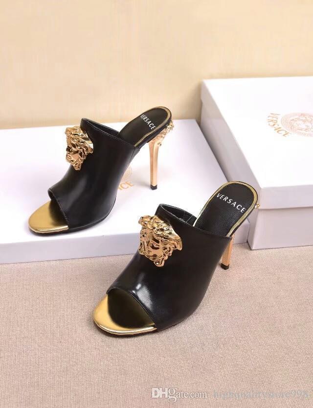 hauts talons femmes chaussures sandales pantoufles pantoufles sandales Les dernières talons de plats de la marque Party Banquet chaussures de pêcheur de mariage 239