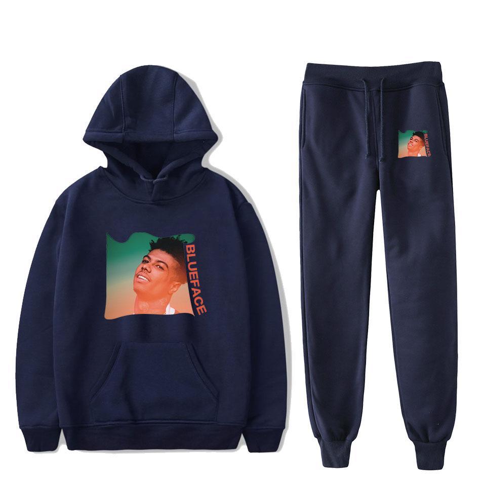 Outono hoodies camisolas + recreio Sweatpants Impresso Rapper BlueFace Hoodies das mulheres / homens do esporte casual e ternos de lazer