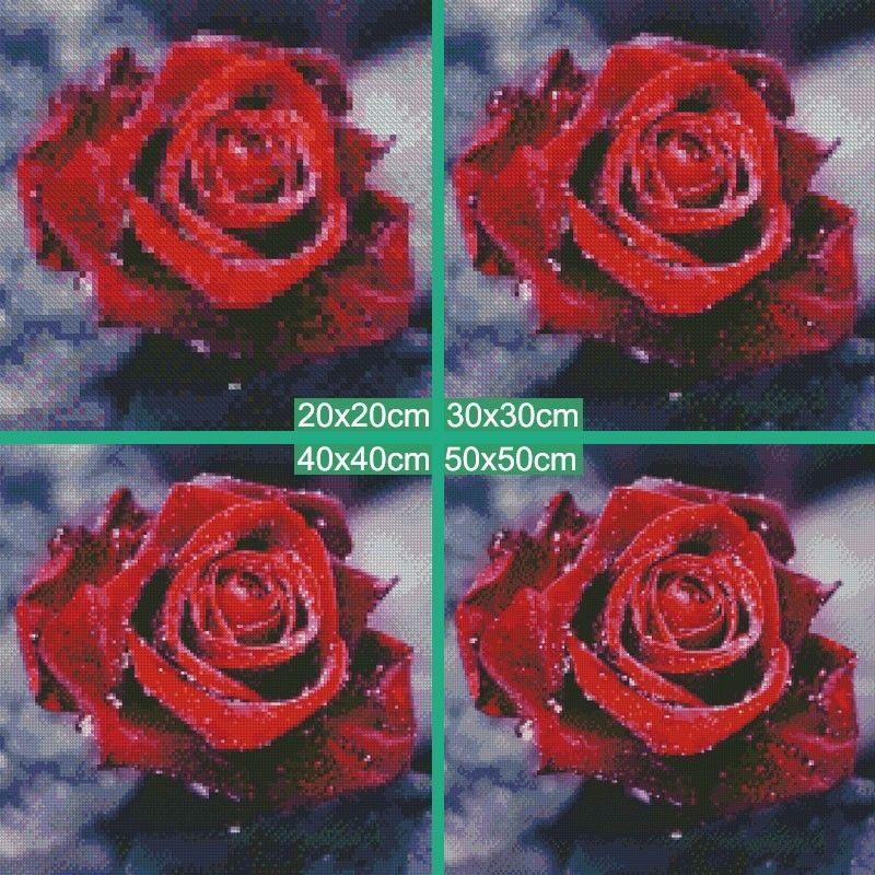 DIY 5D Diamond Painting Embroidery Rose Flower Cross Crafts Stitch Kit Decor Wall Decoration
