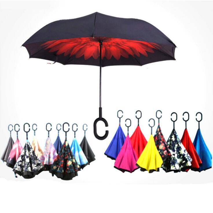 أنماط قابلة للطي مظلة عكسي متعدد طبقة مزدوجة مقلوب طويل مقبض صامد للريح المطر السيارات المظلات المظلات C مقبض