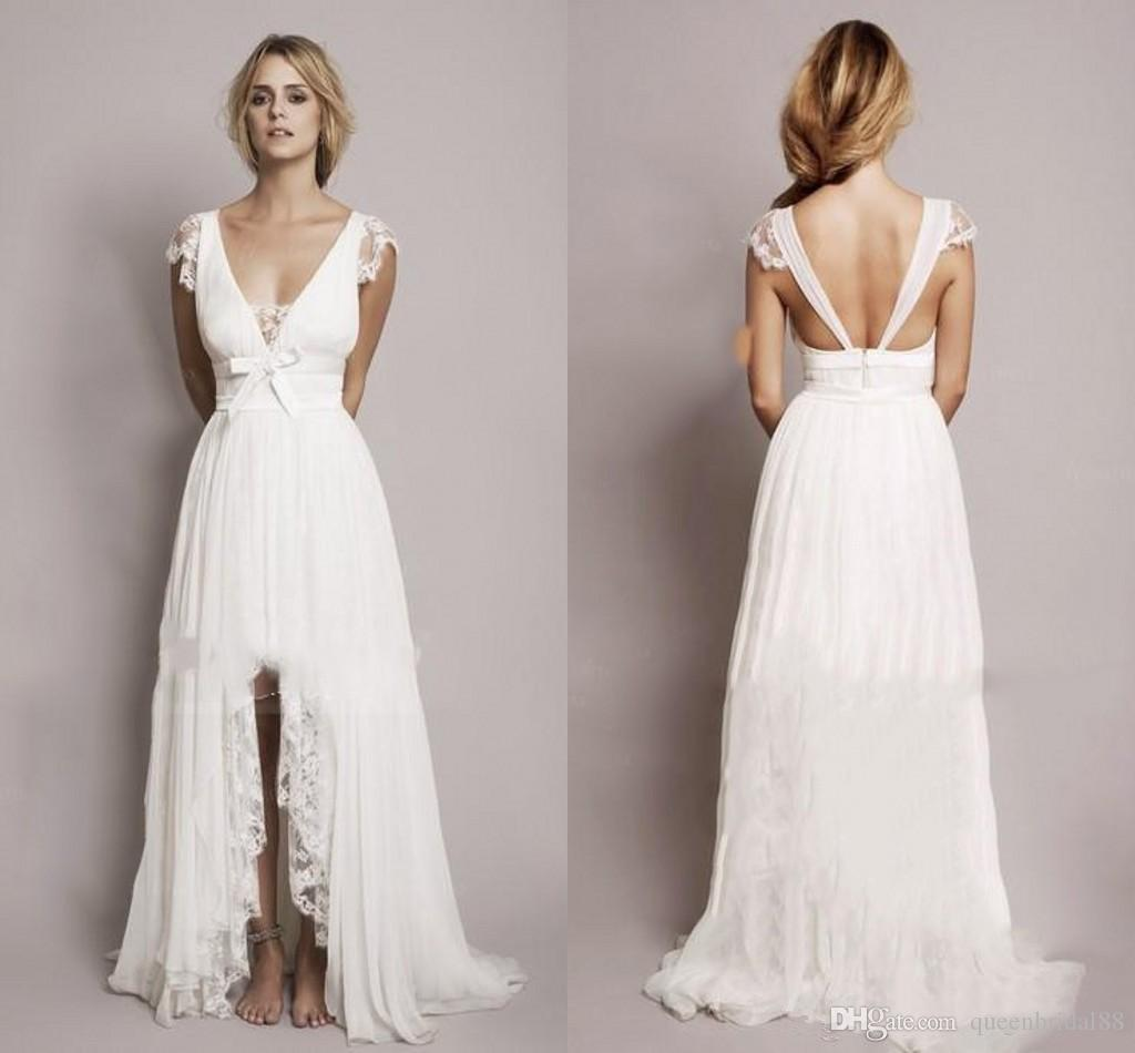 2019 Summer Lace Chiffon High Low Wedding Dresses A Line V Neck Lace Capped Sleeves Bridal Gowns Cheap Dress