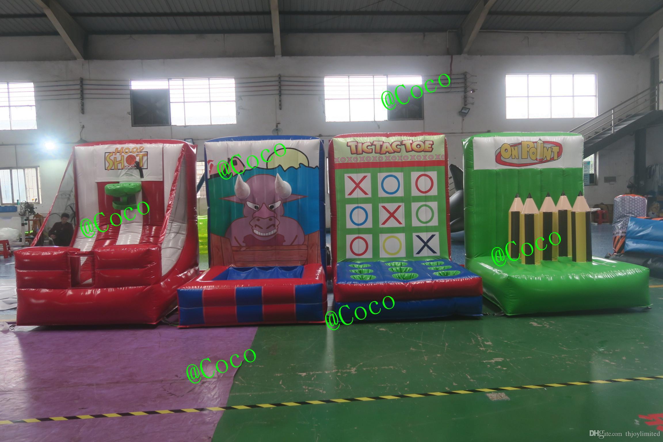 inflável 4 em 1 jogos de esporte para crianças, venda quente inflável jogos de carnaval para venda, inflatables de esporte interativo