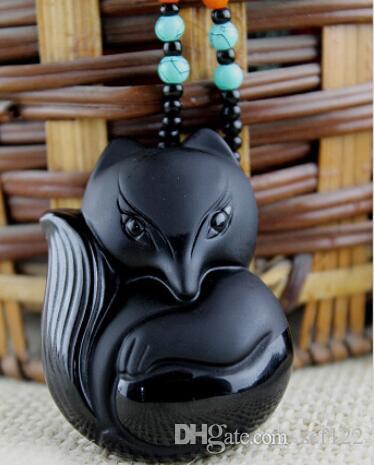 Fox gros Obsidian givré pendentif pour hommes et femmes Bijoux en cristal Collier Exorcisme Aider Peach Blossom Mariage