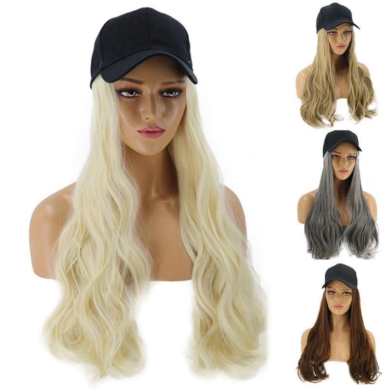 فتاة النساء طويل شعر مستعار مجعد الاصطناعية هيربيسي الشعر التمديد مع قبعة بيسبول الأزياء المضادة للأشعة فوق البنفسجية قبعة الشمس الشارع الشهير