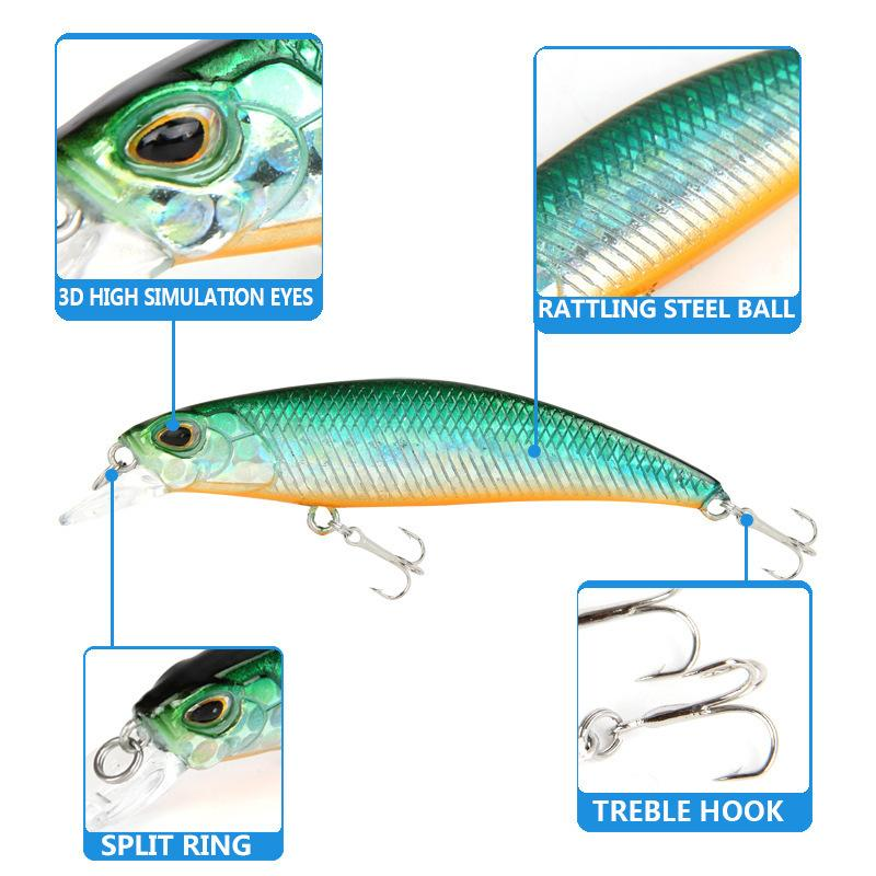 New Minnow Mini Small Fishing Lure 60mm High Quality Vibration Swing Sink Hard Bait Efficient Ice Lures Japan Fishing Tackle