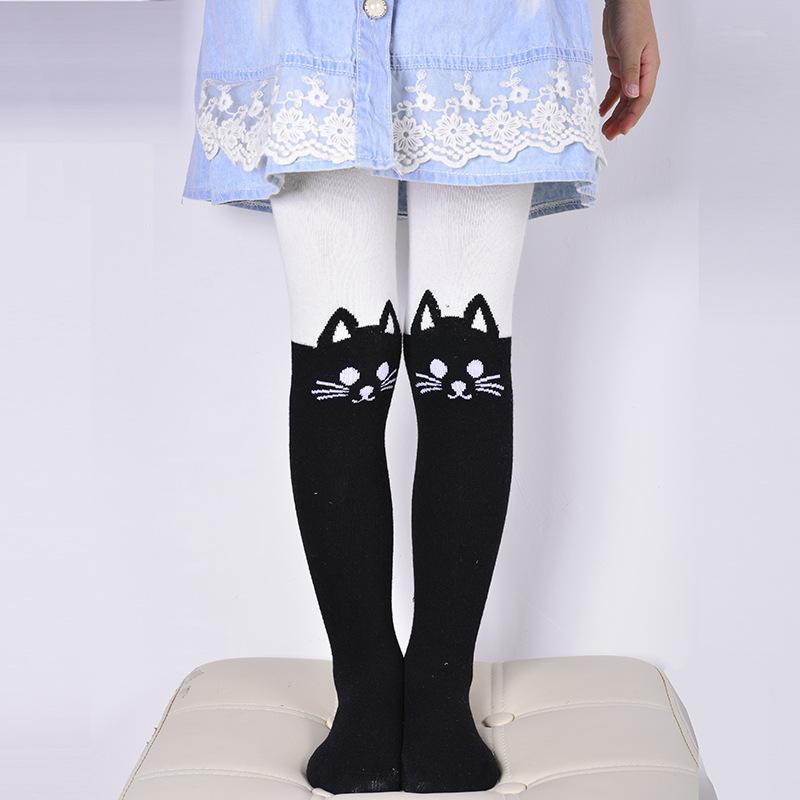 Çoraplar Pamuk Külotlu Isınma İlkbahar sonbahar Bebek Çocuk Çorapları Kız Karikatür Kedi Patchwork Çocuk Külotlu çorap çocuklar