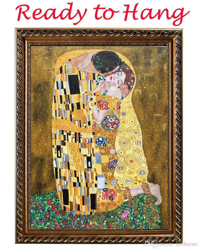 Gustav klimt lienzo de arte pinturas al óleo reproducción El beso famoso pintura moderna estirada y enmarcada sala de estar decoración pintada a mano