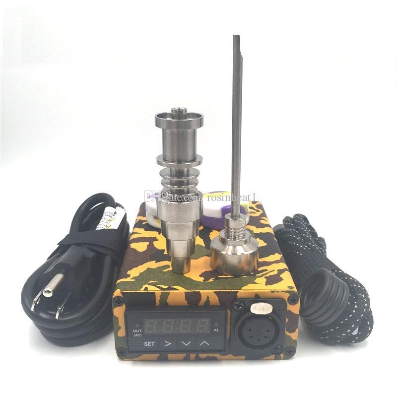 Tragbare Bunte Emeail Electric DAB Nagel Kit PID Temperatur Digital Dabber Box mit TI Quartz Nägel Spulenheizung für Wasserglas Bong