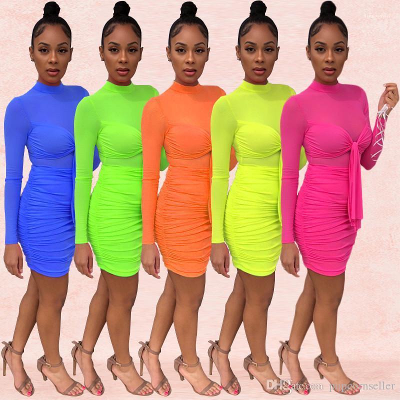 Europäische und amerikanische Frauen reizvolles Ineinander greifen Nachtclub-Kleid mit rundem Ausschnitt Langarm-Kleid Sommer-Frauen-Kleid