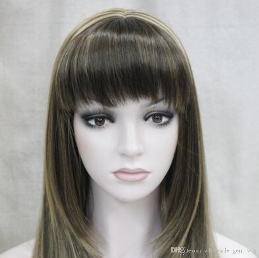 Парик WBY термостойкая партия косплеи волосы TJFashion средний коричневый + блондинка смешанные длинные прямые женщины дамы парик челка H-LC072 Hivi