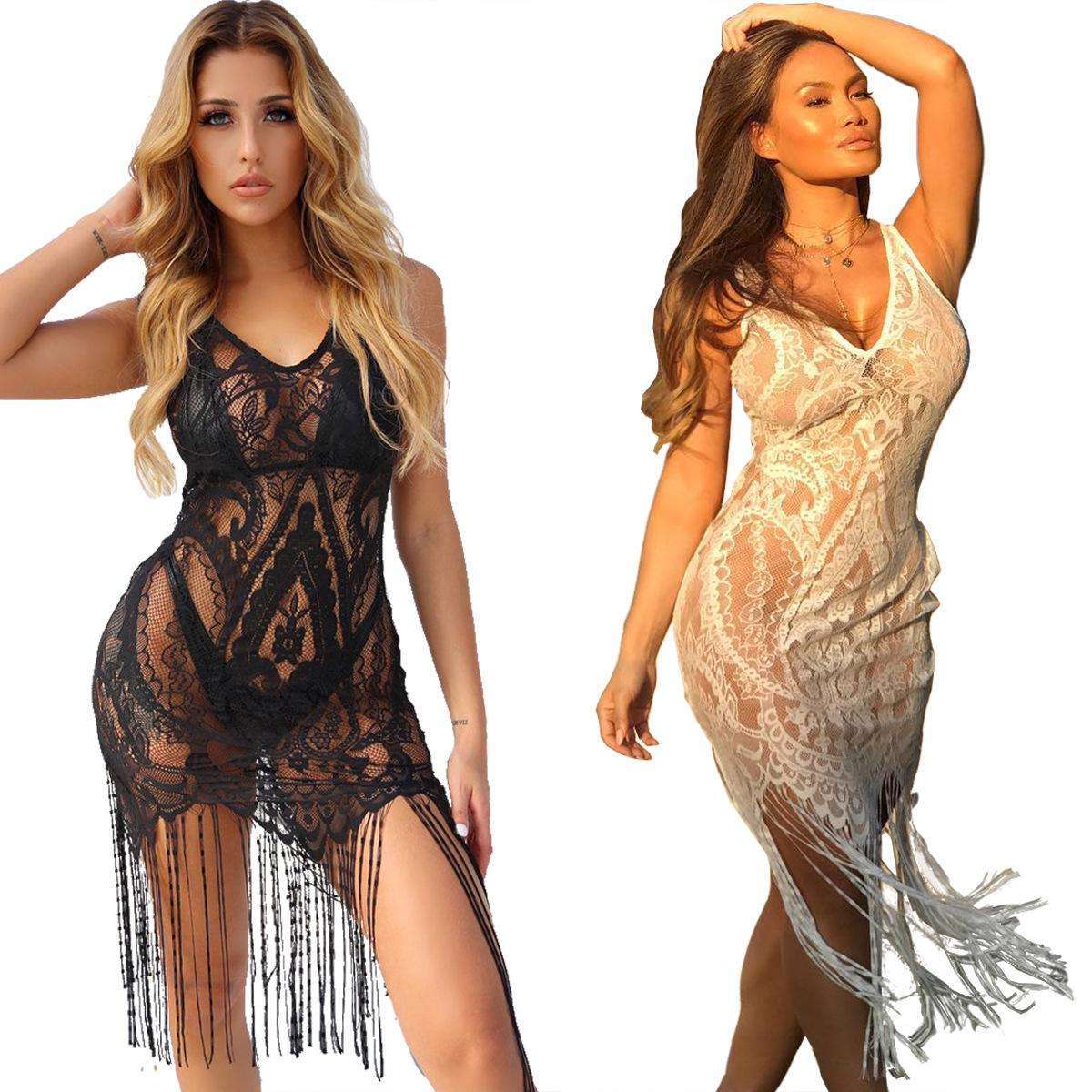 Black White Women Sexy See through Beach Pajamas Babydolls Lingerie Corsets Chemises Mini Cut Out Skirt Costumes Dress Wear Skirt pt12