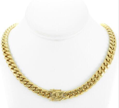 """Mens cubano Miami link 18 """"choker corrente real 18k ouro sobre aço inoxidável 10 milímetros"""