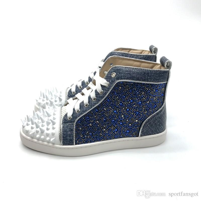 Denim strass vermelha spike couro inferior do desenhador de moda sapatos de alta Corte de Spike Sedue bezerro luxo partido sapatilha sapatos de casamento Casual Shoes