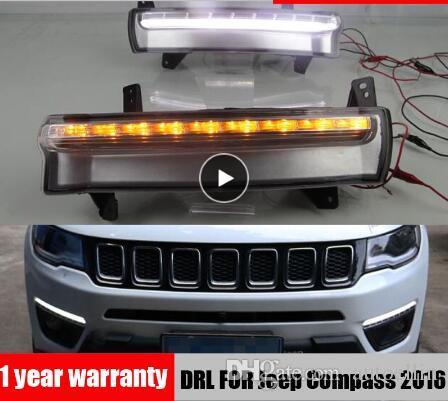 Luz diurna para Jeep Compass 2017 2018 2019 dinámico amarillo luz de señal de giro estilo relé 12V LED coche DRL lámpara antiniebla