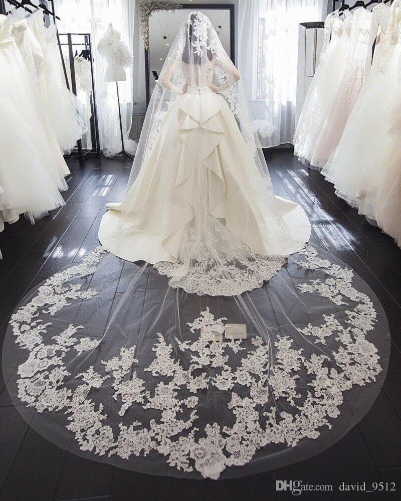 Dantel Aplike Kenar Ile Uzun Düğün Peçe Beyaz Fildişi 1 T Narin Dantel Gelin Düğün Veils Şapel Katedrali El Yapımı Özel Ücretsiz Tarak Tül
