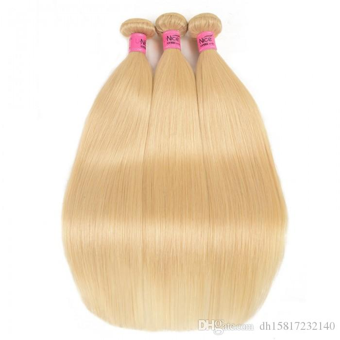 Human hair 3 bundles 613 blonde straight human hair weaves with 4x4 lace closure for black women