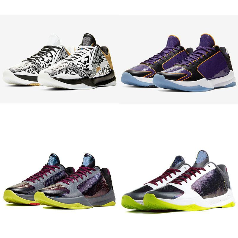Mamba 5 PROTRO Kaos Erkek basketbol ayakkabıları 5s V Lakers Dark Knight Mor De Siyah Prelude Halkalar tasarımcı spor eğitmenleri erkekler spor ayakkabıları Büyütmek