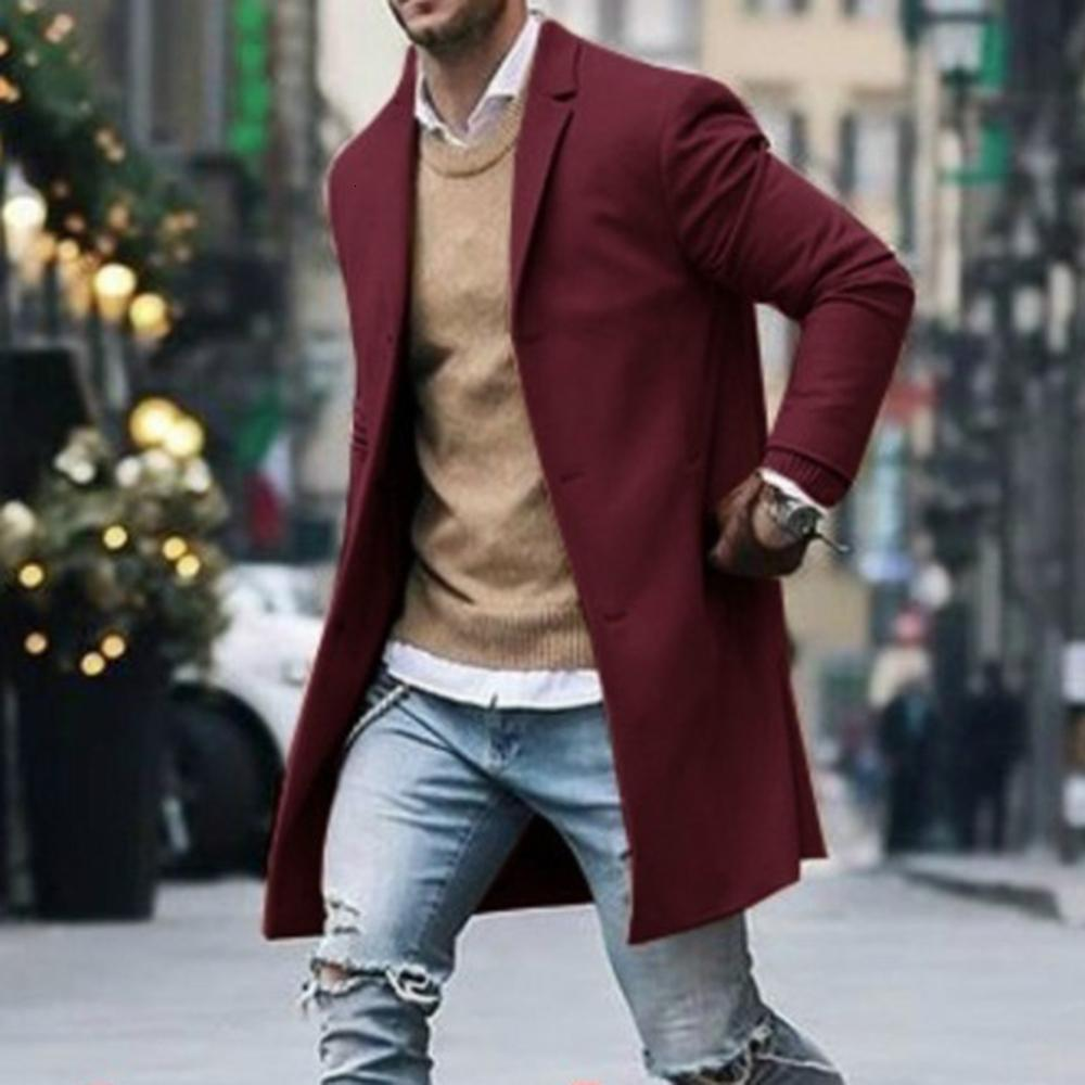 Oeak 2019 Homens de Moda de Trench Coat Jacket Inverno Quente Lã Brasão Outwear longo Overcoat Chegada Nova Clássica Homens Coats Inverno Y191119