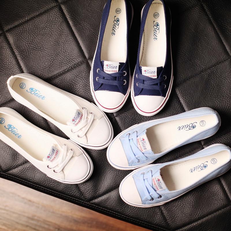 zapatos de lona de la primavera y el otoño de la boca baja de las mujeres de Corea del conjunto de estudiantes perezosos pies planos pedales de las mujeres