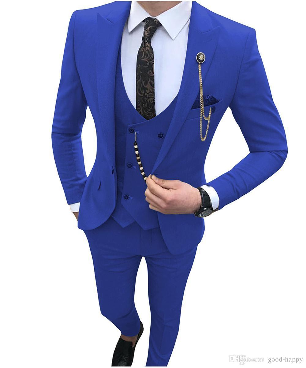 Hankie Royal Blue Fashion Mens Formal Dress Suit Waistcoat 3 Pcs Vest Tie Vests