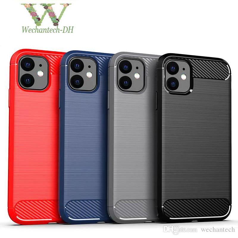 La fibra de carbono rozó la textura de TPU protector de la caja del teléfono para el iPhone 11 Pro Max XR XS MAX X Samsung S10 A20 A50 Nota 10 Plus LG