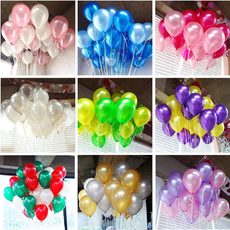 100pcs التي / الكثير عيد ميلاد بالونات 10 بوصة ألوان متنوعة اللاتكس بالون عيد ميلاد حفلات الزفاف طرف وأي أحداث كيد الطفل لعبة الهواء كرات