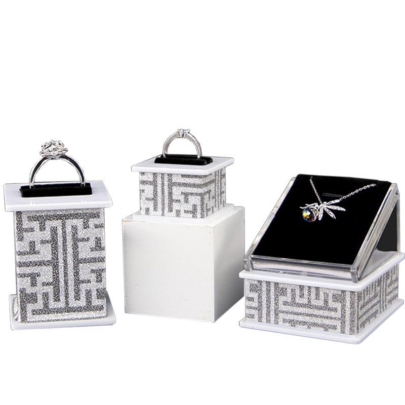 Acrilico gioielli di barretta di supporto del banco per Gioielleria Vetrina dell'organizzatore di immagazzinaggio Orecchini Anelli Collane stand