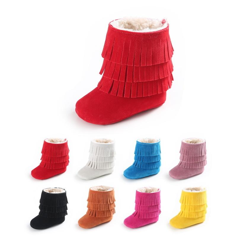 MiYuebb tassel thicker winter baby snow boots infant toddler shoes for boy and girl plus cotton baby shoes first walker CY200512