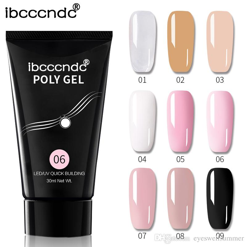 9 cores 30ml Polygel prego Builder Gel polonês Verniz Pink White Crystal Clear UV LED rápida Extensão Gel Poly Gel laca