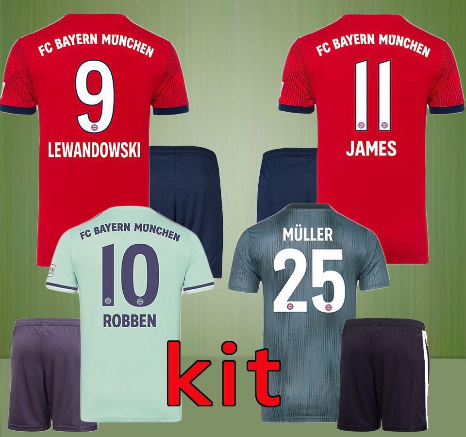 Acquista 18 19 LEWANDOWSKI MULLER JAMES ROBBEN Bayern Monaco Di Casa In Trasferta Terza Maglia Da Calcio Kit 2018 2019 KIMMICH HUMMELS BOATENG Set ...