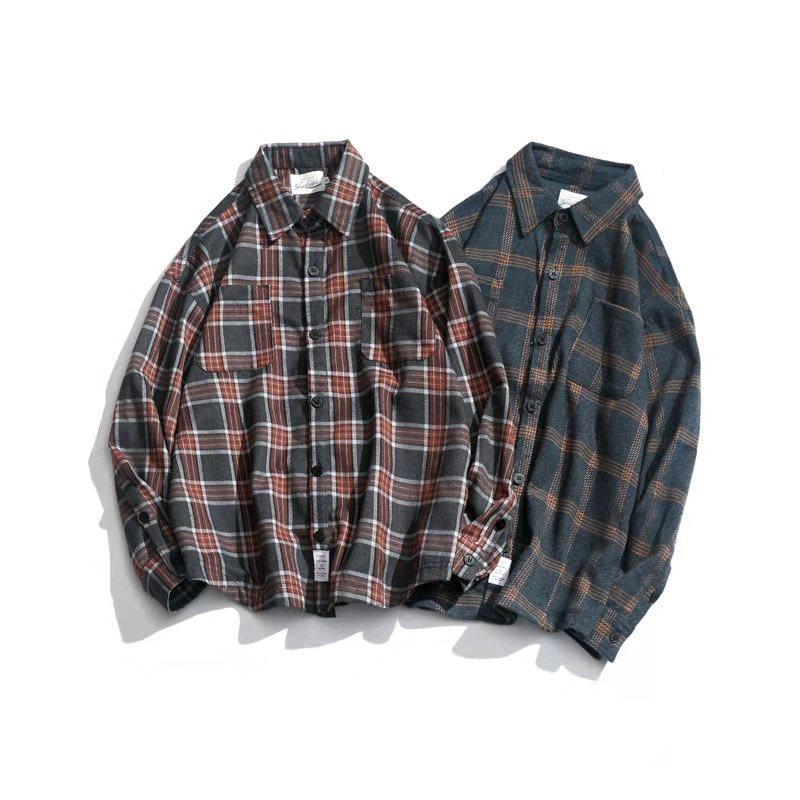 2020 progettista Trendy nuovo retrò giapponese ins a righe camicia a quadri autunno casuale coreano all'ingrosso slaccia la camicia a maniche lunghe da uomo marea