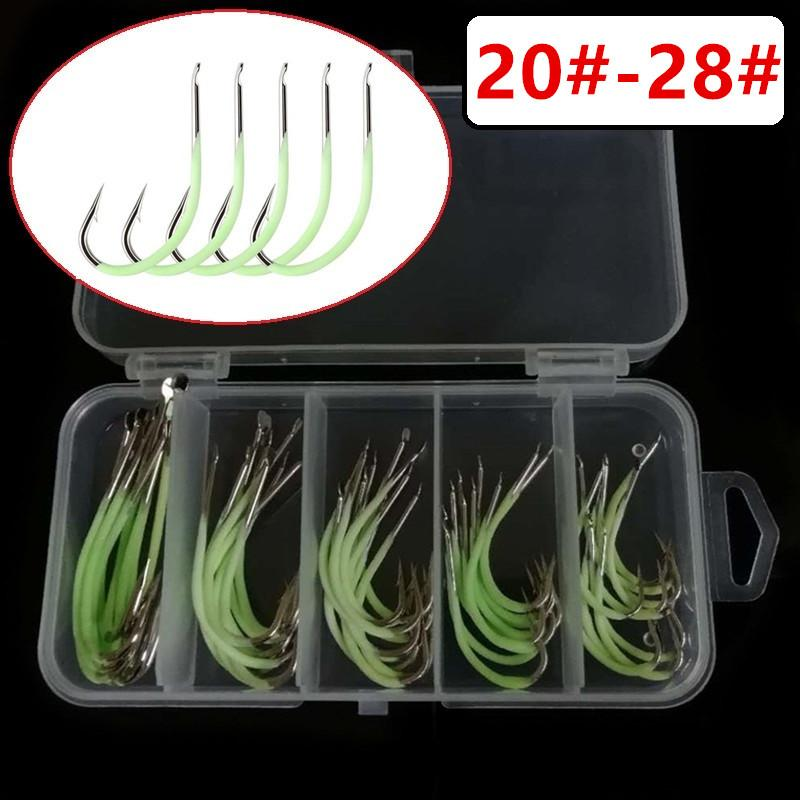 50pcs/1box 20#/22#/24#/26#/28# Luminous Maruseigo Hook High Carbon Steel Barbed Fishing Hooks Fishhooks Fishing Tackle e-013