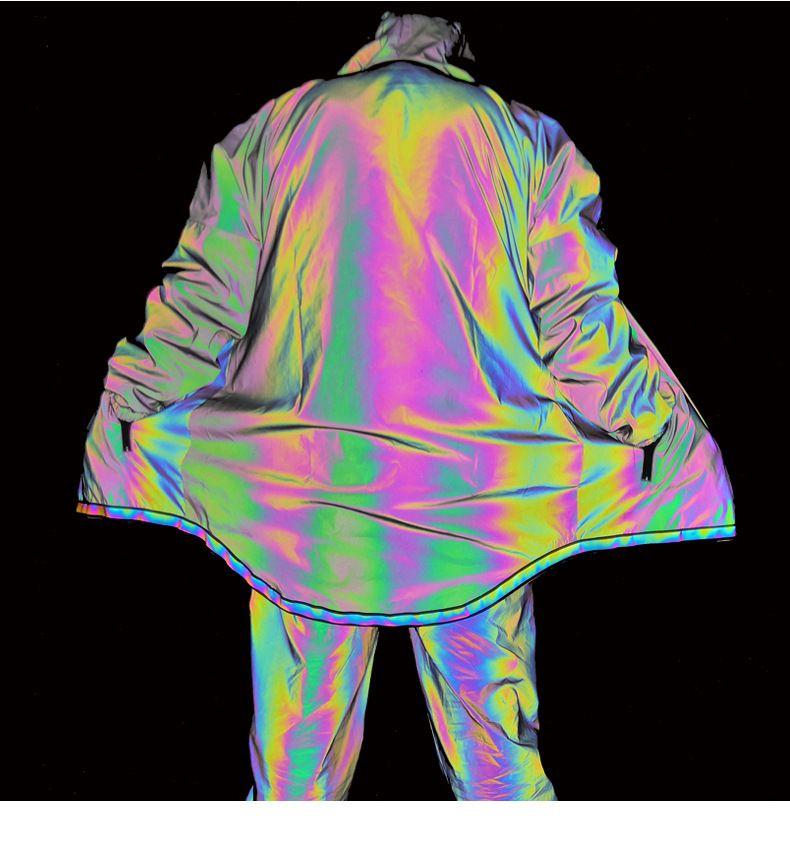 2020 Hommes 3M réfléchissant Veste arc-en-Hip Hop capuche en vrac Casual Manteaux Vestes Homme Vêtements coupe-vent