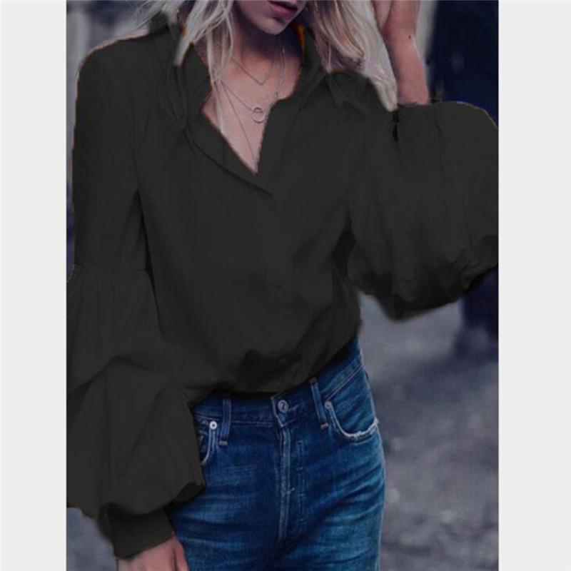 Мода Фонарь Рукав Женщины Повседневная Рубашка Блузка Сплошной Черный С Длинным Рукавом Camisas Mujer Уличная Женская Отложной Воротник Рубашки
