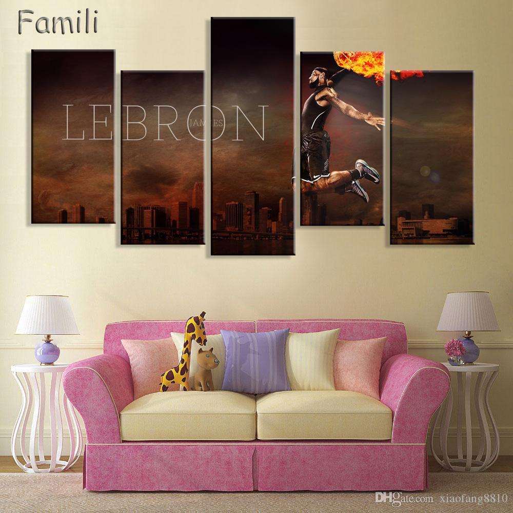 5Panel баскетбол профессиональные спортсмены современный дом декор стены холст картина искусство HD печать живопись холст искусство