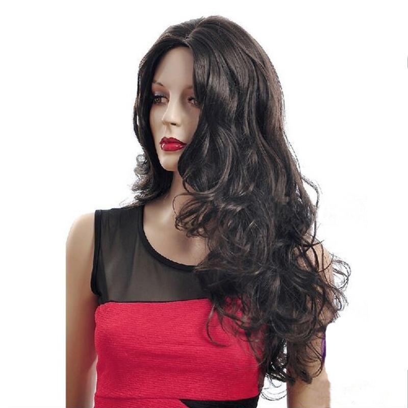 Mode longue perruque Perruques Cheveux noirs Mode résistant à la chaleur Raides Raides Perruques de charme pour la mode femmes cosplay longue perruque
