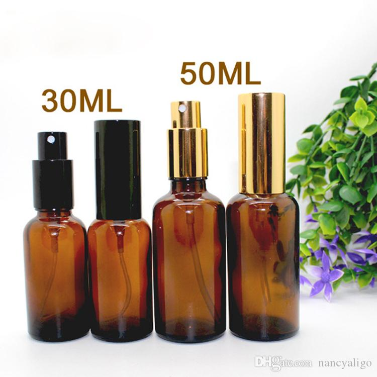 30ml 50ml Empty Glass Sprayer Bottles Amber Atomizer Refillable Spray Bottles Vial With Black Gold Pump Cap For Perfume Cosmetic Water
