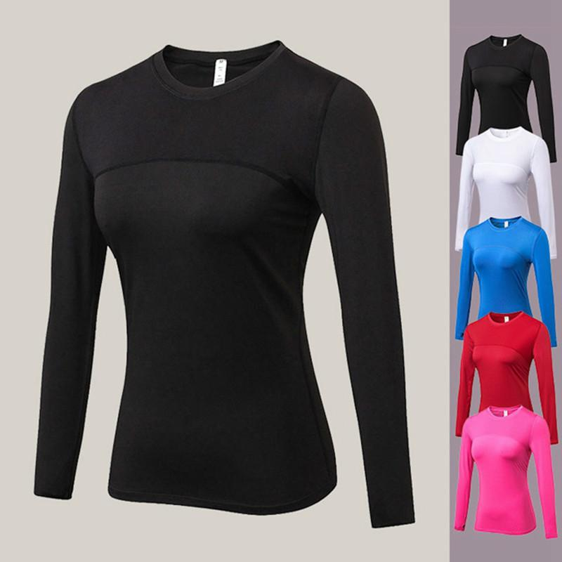 Februaryfrost 2020 Women Quick Dry Long Sleeve Compression Tight Yoga Gym Sportswear Fitness Running Tops T-shirts Body Shaper Tee Shirts