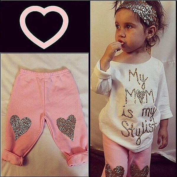 뜨거운 판매 유아 어린이 아기 소녀 의상 의류 세트 긴 소매 T 셔츠 탑 + 긴 바지 바지 여자 가을 의류