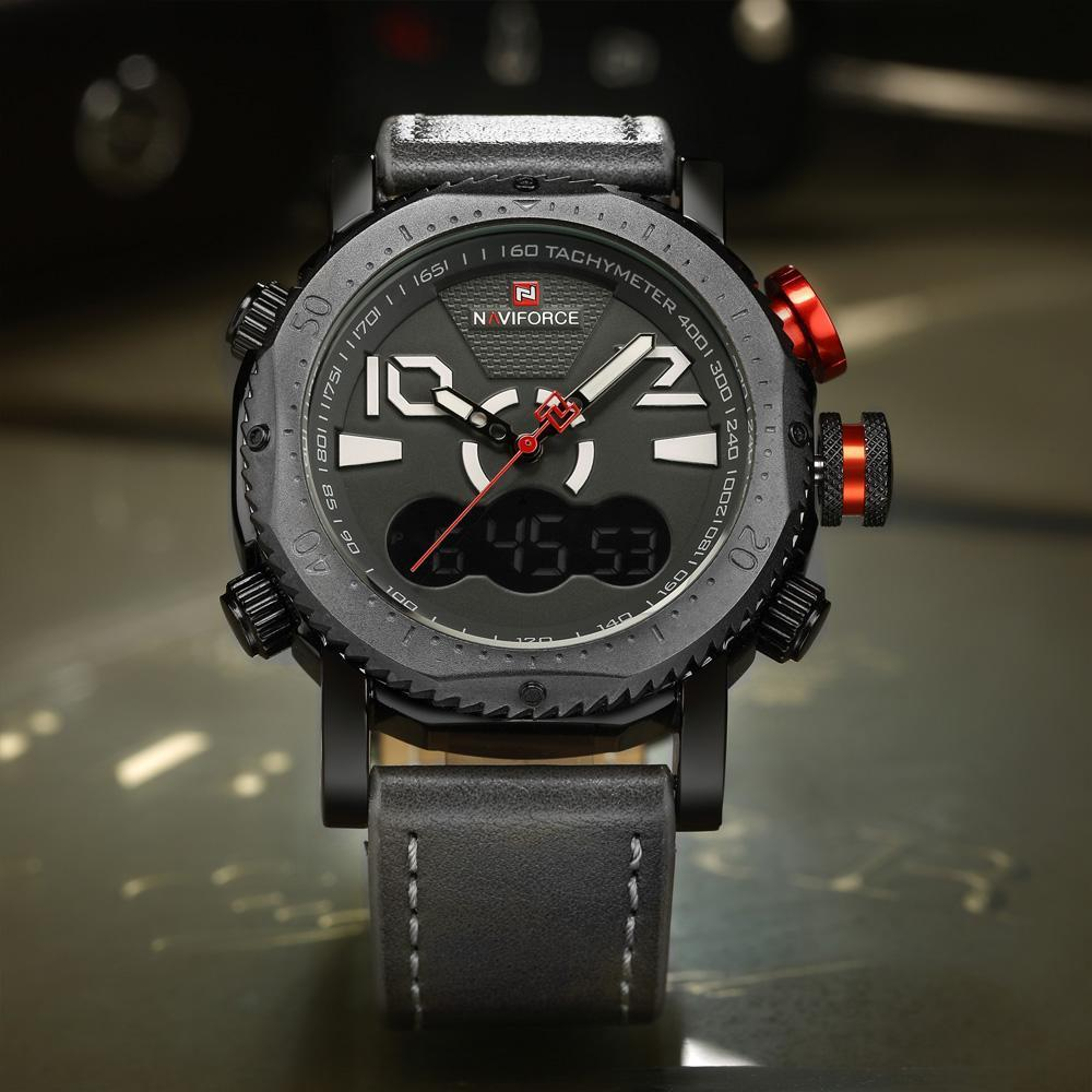 2019 NAVIFORCE Original boa qualidade Analog de quartzo de homens impermeável Sport Leather LED Banda multi-função relógio de pulso 9094