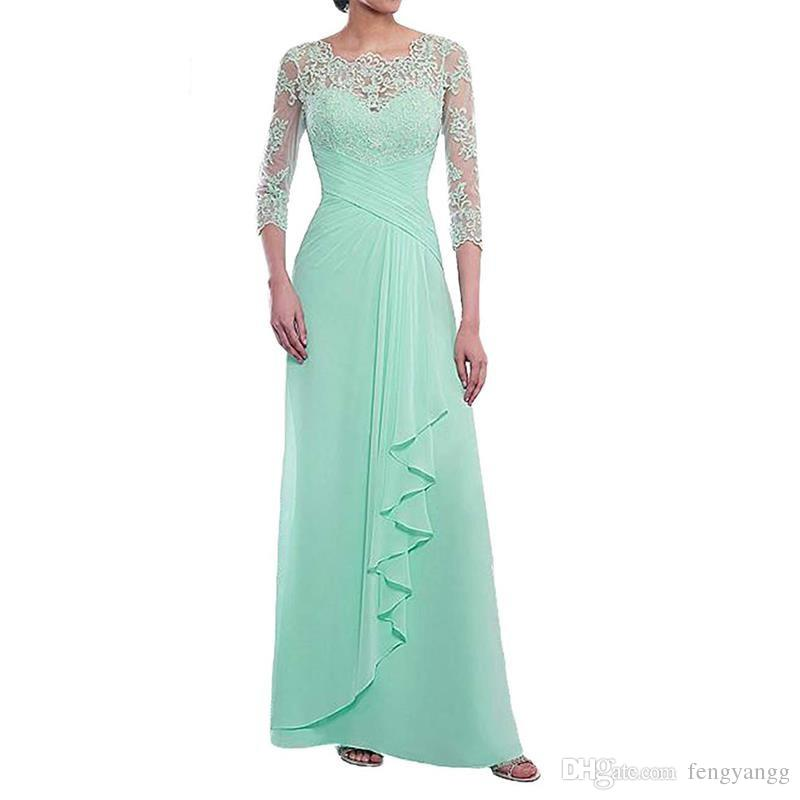 Mother of The Bride Dresses Long Evening Formal Dress Lace Applique 3/4 Sleeve Ruffles Mother Dress 2019 Wedding Guest Gowns Plus Size